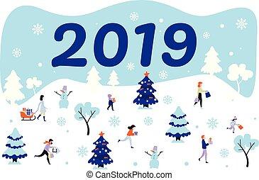 セット, シンボル, 割引, セール, ベクトル, 2019, 年, 新しい, クリスマス