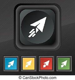 セット, シンボル。, 手ざわり, カラフルである, ボタン, ベクトル, 黒, ペーパー, 流行, 5, 飛行機, アイコン, あなたの, design.