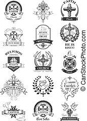 セット, シンボル, 販売サイン, 教会, 休日, イースター