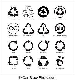セット, シンボル, 隔離された, イラスト, ベクトル, 背景, リサイクルしなさい, 白