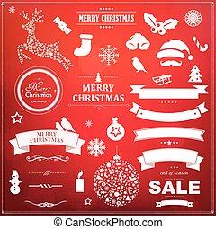 セット, シンボル, bokeh, 背景, クリスマス, 赤
