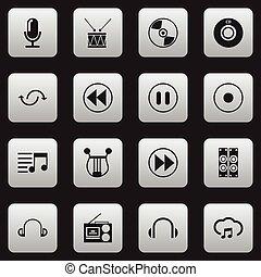 セット, シンボル, infographic, design., 媒体, プレーヤー, カセット, インタビュー, ありなさい, 使われた, editable, icons., 含む, 網, そのような物, more., 音, モビール, 16, 止まれ, ui, 缶