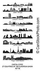 セット, スカイライン, 組合, 27, 重要な 都市, ヨーロッパ