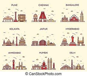 セット, スカイライン, jaipur, デリー, indian, kolkata, mumbai