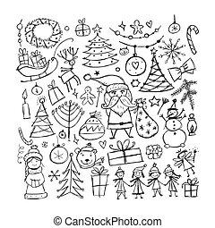 セット, スケッチ, デザイン, あなたの, クリスマス