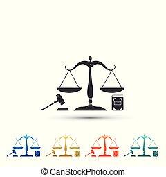 セット, スケール, 小槌, design., 隔離された, 法的, バックグラウンド。, 本, 白, 平ら, 要素, シンボル, シンボル。, イラスト, icons., 法律, アイコン, 有色人種, オークション, 正義, justice., ベクトル