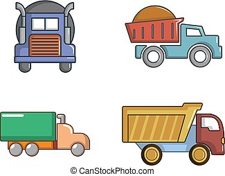 セット, スタイル, トラック, 漫画, アイコン