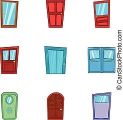 セット, スタイル, ドア, 漫画, アイコン