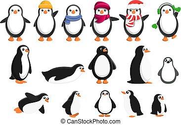 セット, スタイル, ペンギン, 漫画, アイコン