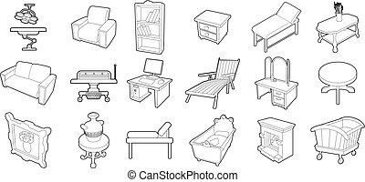 セット, スタイル, 家具, アウトライン, アイコン