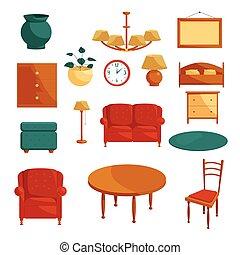 セット, スタイル, 家具, 漫画, アイコン