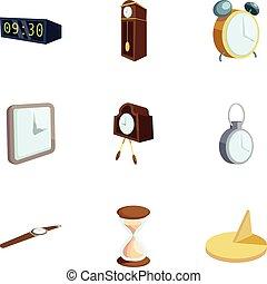 セット, スタイル, 時間, 漫画, アイコン