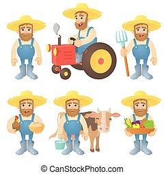 セット, スタイル, 概念, 漫画, 農夫