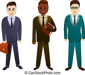 セット, スタイル, 漫画, 弁護士, アイコン