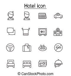 セット, スタイル, 薄いライン, ホテル, アイコン