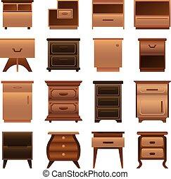 セット, スタイル, nightstand, 漫画, アイコン