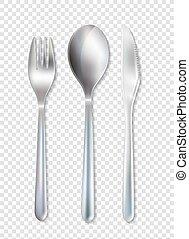 セット, ステンレス食器, cutlery, テーブルウェア, 背景, 透明