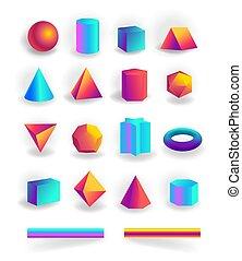 セット, ストローク, editable, 隔離された, 形, 勾配, holographic, 幾何学的, 3d