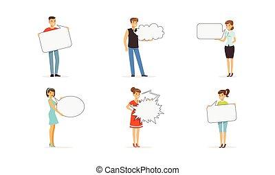 セット, スピーチ, 保有物, 地位, 人々, 泡, ベクトル, 特徴