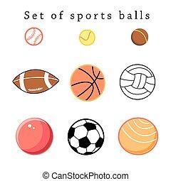セット, スポーツ, ボール