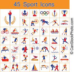 セット, スポーツ, 45, アイコン