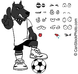 セット, スポーティ, 犬, 感情, サッカー, 漫画