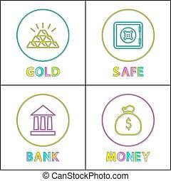 セット, セービング, 薄くなりなさい, お金, 貴重である, 資産, 線, アイコン