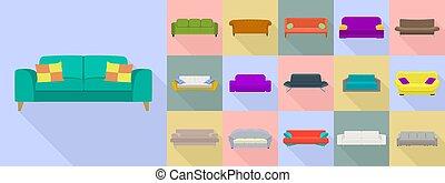 セット, ソファー, スタイル, アイコン, 平ら