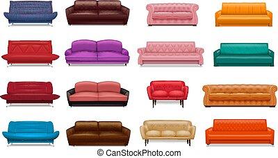 セット, ソファー, スタイル, アイコン, 現実的