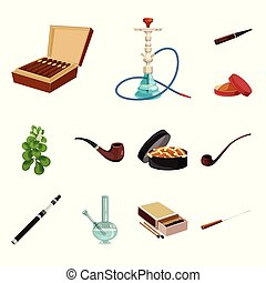 セット, タバコ, シンボル, オブジェクト, web., 隔離された, シンボル。, タバコ, ニコチン, 株