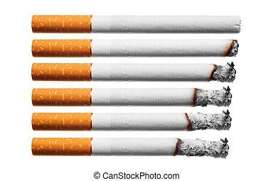 セット, タバコ, 白, 焼跡, 背景