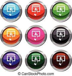 セット, タブレット, スクリーン, コレクション, 感触, 9, クリック