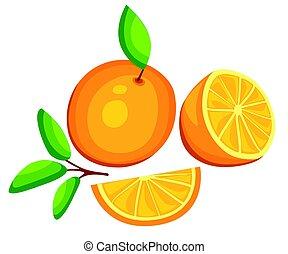 セット, タンジェリン, 隔離された, イラスト, 包装, ジュース, フルーツ, ベクトル, デザイン, 背景, オレンジ, 新たに, 白, 構成