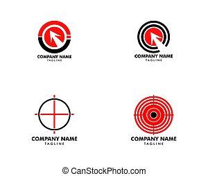 セット, ターゲット, ベクトル, デザイン, テンプレート, ロゴ, アイコン