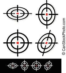 セット, ターゲット, 印, 十字照準線, 3d