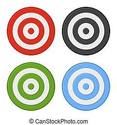 セット, ターゲット, 隔離された, バックグラウンド。, ベクトル, 白, 射撃, アイコン