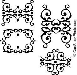 セット, ダマスク織, 抽象的, -, イラスト, 1, ベクトル, 黒