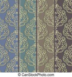 セット, ダマスク織, 装飾, パターン, ベクトル, 花