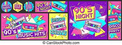 セット, ダンス, ベクトル, テープ, 旗, イラスト, poster., ディスコ, ファンキーである, 音楽, 夜, 招待, レトロ, パーティー, 90s, 衝突, ステレオ, 90代