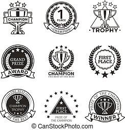 セット, チャンピオン, トロフィー, 黒, 白, メダル