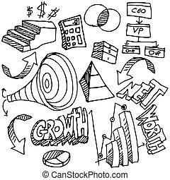 セット, チャート, ビジネス, 図画