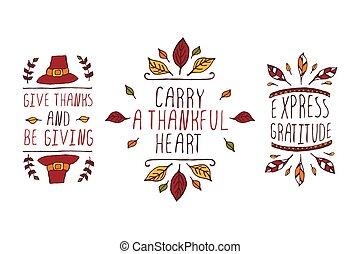 セット, テキスト, 感謝祭, 要素, 背景, 白