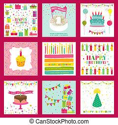 セット, テキスト, -, birthday, ベクトル, 場所, 招待, パーティー, あなたの, カード, 幸せ