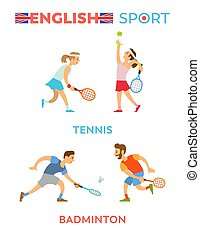 セット, テニス, 女の子, スポーツ, 男の子, 英語, 遊び