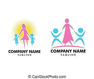 セット, テンプレート, 子供, ベクトル, デザイン, お母さん, ロゴ