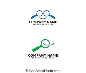 セット, テンプレート, 微笑, magnifier, ロゴ, ベクトル, デザイン