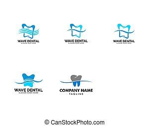 セット, テンプレート, 波, ロゴ, ベクトル, 歯医者の, 歯, デザイン