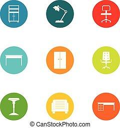 セット, テーブル, スタイル, アイコン, 平ら
