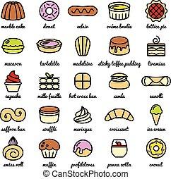 セット, デザート, 大きい, 甘いもの, 世界, 線, 最も良く, アイコン