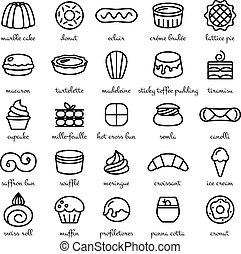 セット, デザート, 甘いもの, 世界, 線, 最も良く, アイコン
